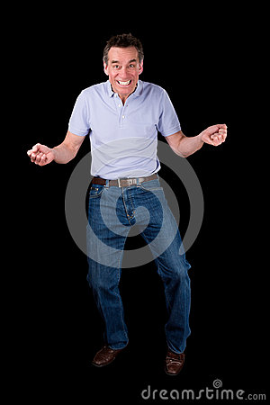 Free Funny Middle Age Man Dancing With Cheesy Grin Stock Images - 30674404