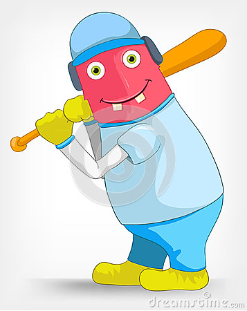 Funny Monster. Baseball.