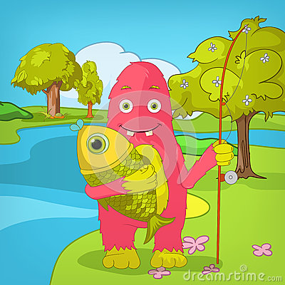 Funny Monster. Fisherman.