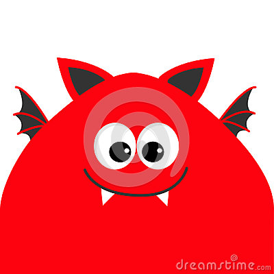 Free Funny Monster Head With Big Eyes, Fang Tooth And Wings. Cute Cartoon Character. Red Color. Baby Collection. Isolated. Happy Hallow Royalty Free Stock Image - 98005946