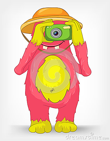Funny Monster. Tourist Photographer.