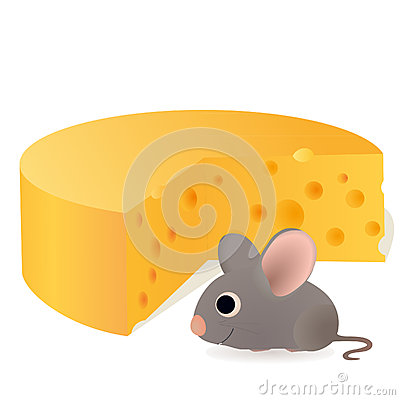 Funny mouse near the big cheese