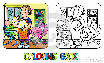 Funny Nanny With Children. Coloring Book. Vector Illustration ...