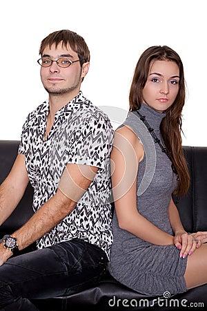 Funny nerd guy and glamorous girl