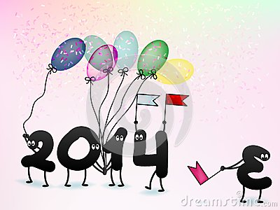 Funny 2014 New Year s Eve greeting card. + EPS10