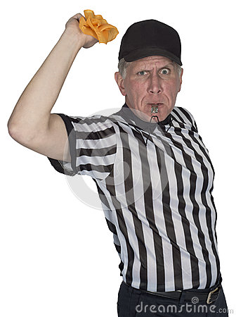 Funny NFL Football Referee or Umpire, Penalty Flag, Isolated