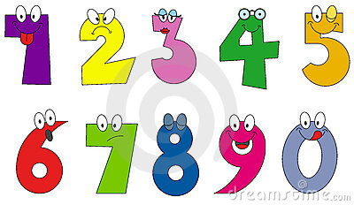 Funny numbers cartoon style