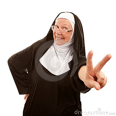 Funny Nun Making Peace Sign Royalty Free Stock Image ...