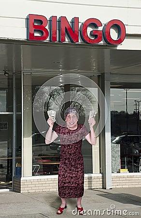 Funny Old Grandma Win Money Cash at Bingo Hall