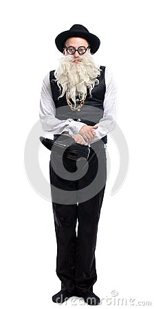 Funny old Jew with shoe
