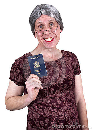 Funny Old Ugly Mature Senior Woman Passport Travel
