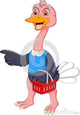 Funny ostrich cartoon carrying shopping baskets Stock Photo