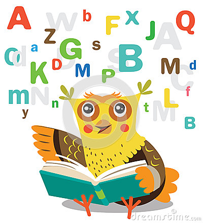 Free Funny Owl Learn To Read Book On A White Background. Royalty Free Stock Photos - 69032958