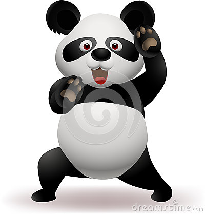 Funny panda practicing martial art