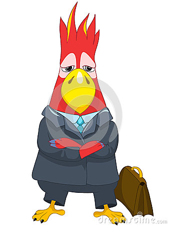 Funny Parrot. Businessman.
