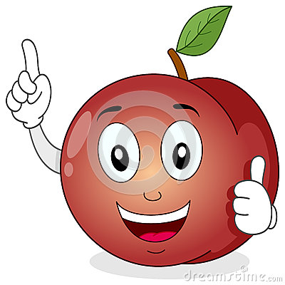Funny Peach Cartoon Character Smiling