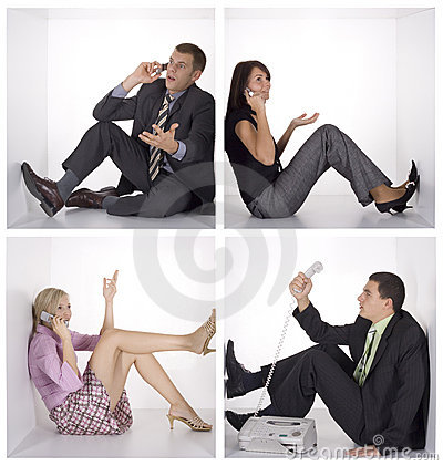 Free Funny People Talking Phone In The White Cubes Royalty Free Stock Image - 1438506