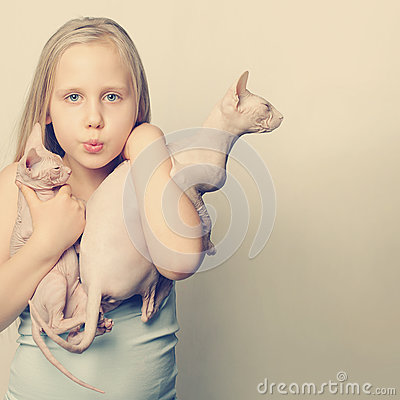 Free Funny Picture Of Cute Girl And Cats Royalty Free Stock Photography - 50370277