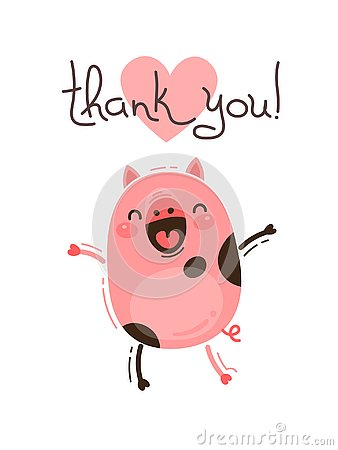 Free Funny Pig Says Thank You. Happy Pink Piglet. Vector Illustration In Cartoon Style Royalty Free Stock Images - 127390359