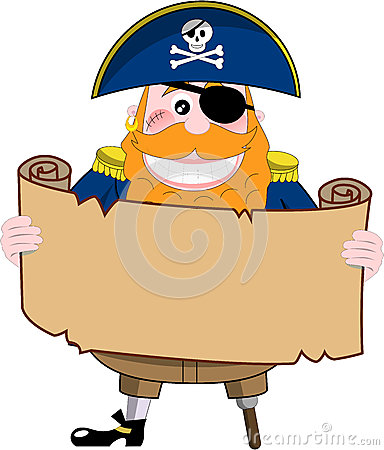 Funny Pirate Looking at Treasure Map