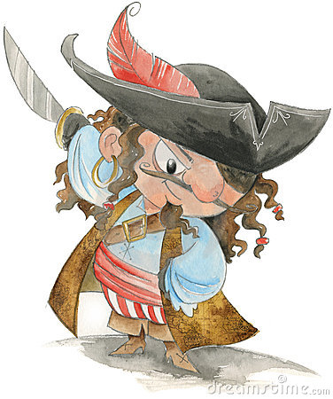 Funny pirate- watercolor