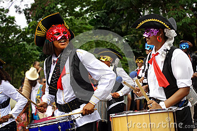 Funny pirates army with drums welcoming carnival Editorial Stock Photo