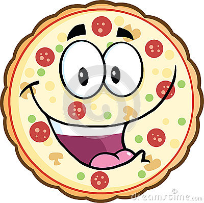 Funny Pizza Cartoon Mascot Character Illustration Isolated on white.