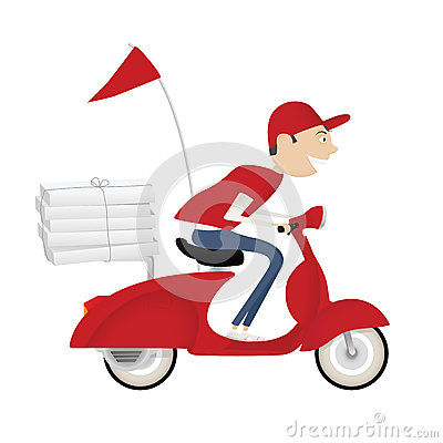 Funny pizza delivery boy riding motor bike