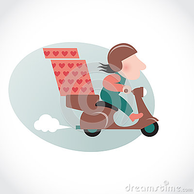 Funny pizza delivery man on brown motorbike.