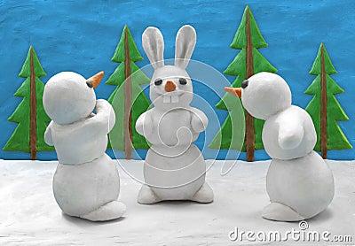 Funny play clay snowmen