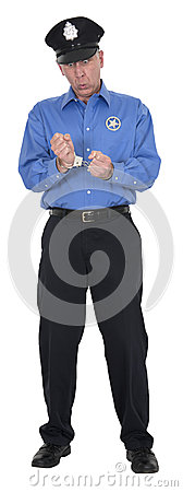 Funny Policeman, Cop, Security Guard, Handcuffs Isolated