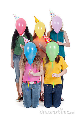 Funny portrait of girls with balloons