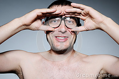 Funny portrait of a man with glasses