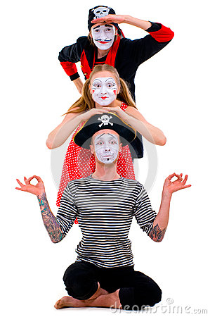 Funny portrait of mimes