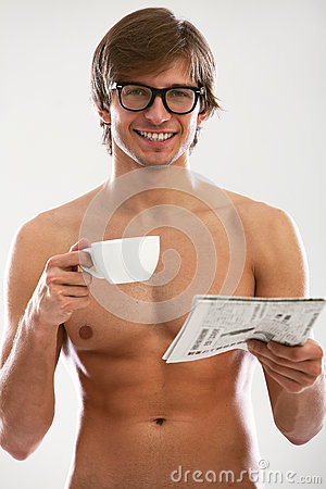 Funny portrait of young naked man