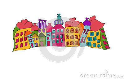 Funny prague houses vector