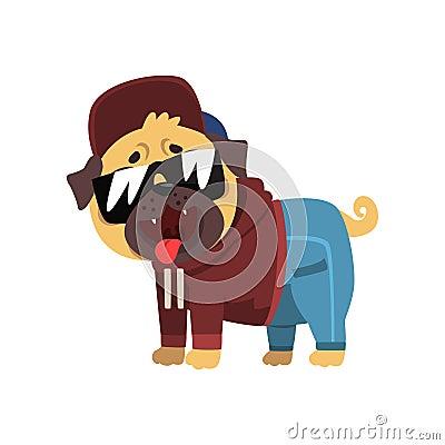 Funny pug dog character dressed as hiphop dancer vector Illustration on a white background Vector Illustration