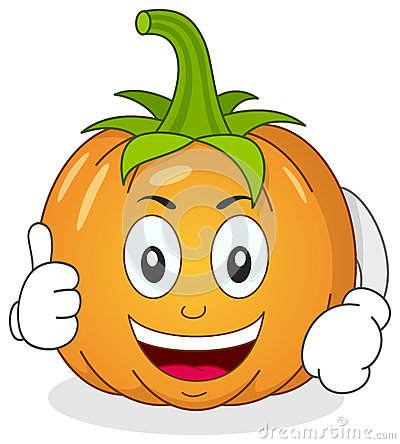 Funny Pumpkin Character with Thumbs Up