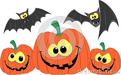 Funny pumpkins and bats cartoon