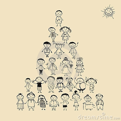 Funny pyramid with happy big family smiling
