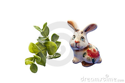 Funny rabbit with leafs
