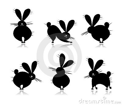 Funny rabbit s silhouettes for your design