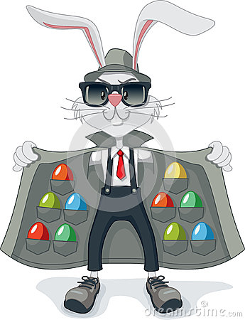 Free Funny Rabbit With Contraband Easter Eggs Vector Cartoon Stock Images - 50956944