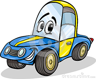 Funny racing car cartoon illustration