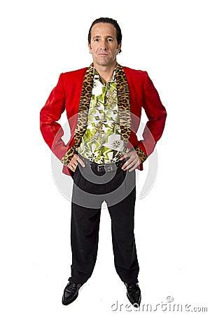 Free Funny Rake Playboy And Bon Vivant Mature Man Wearing Red Casino Jacket And Hawaiian Shirt Standing Happy Posing Gigolo Alike Stock Photography - 47702392
