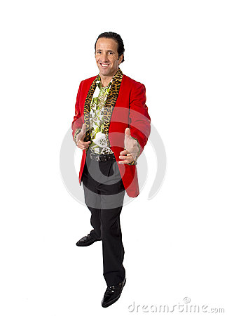 Free Funny Rake Playboy And Bon Vivant Mature Man Wearing Red Casino Jacket And Hawaiian Shirt Standing Happy Posing Gigolo Alike Royalty Free Stock Photography - 47702467