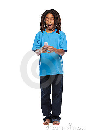Funny rasta kid playing with cellphone in studio