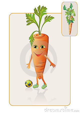 Funny and realistic carrot playing football
