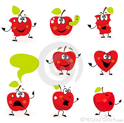 Funny red Apple fruit characters isolated on white