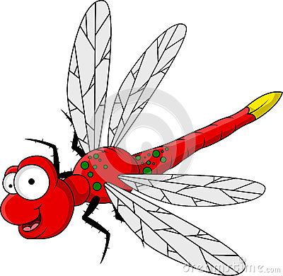 Funny red dragonfly cartoon